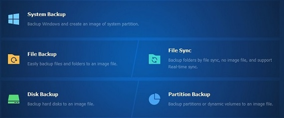 Aomei backup type screenshot